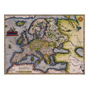 Vintage Map Of Europe Posters Prints Zazzle Uk