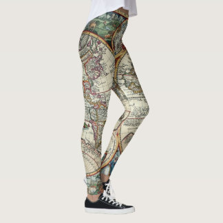 Vintage 1594 Orbis World Map Leggings