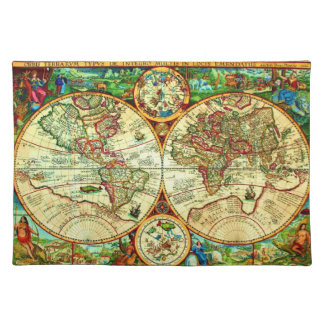 Vintage 1594 World Map Placement Placemats