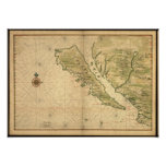 Vintage 1650's California Map - shown as an island Posters