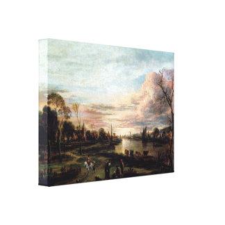 Vintage 1650s Landscape at Sunset Canvas Print