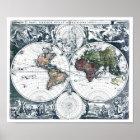 Vintage 1658 Nicolao Visscher World Map Poster