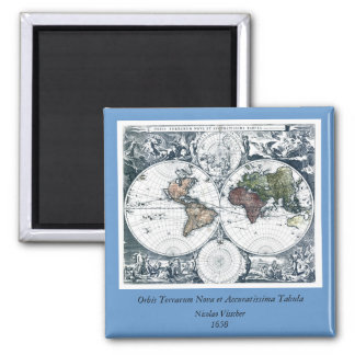 Vintage 1658 Nicolao Visscher World Map Square Magnet
