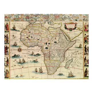 Vintage 1660 s Africa Map by Willem Janszoon Blaeu Full Color Flyer