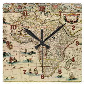 Vintage 1660's Africa Map by Willem Janszoon Blaeu Clocks