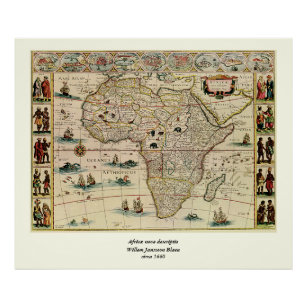 Vintage 1660's Africa Map by Willem Janszoon Blaeu Poster