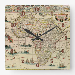 Vintage 1660's Africa Map by Willem Janszoon Blaeu Square Wall Clock