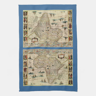Vintage 1660's Africa Map by Willem Janszoon Blaeu Tea Towel