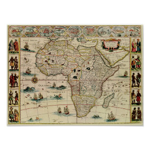 Vintage 1660's Africa Map Poster