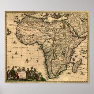 Vintage 1688 Africa Map Poster
