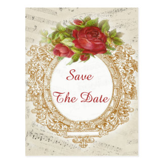 Vintage 16th Birthday Red Rose Frame Music Sheet Postcard