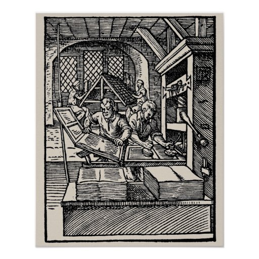 Vintage 16th century letterpress hand press poster