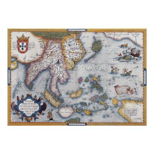 Vintage 16th Century Map of S.E. Asia Poster