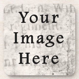Vintage 1700s Black Gray Grey Text Parchment Paper Coasters