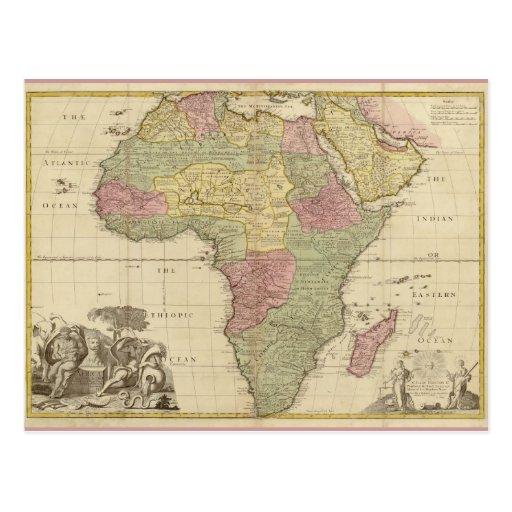 Vintage 1725 Africa Map Postcards