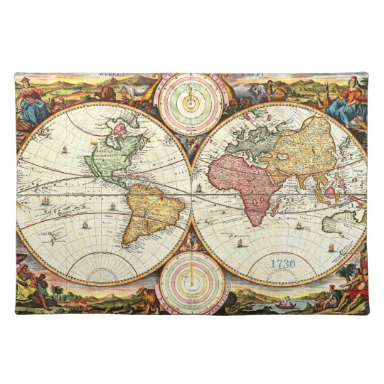 Vintage 1730 World Map Placemat