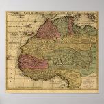 Vintage 1742 North Africa Map Poster