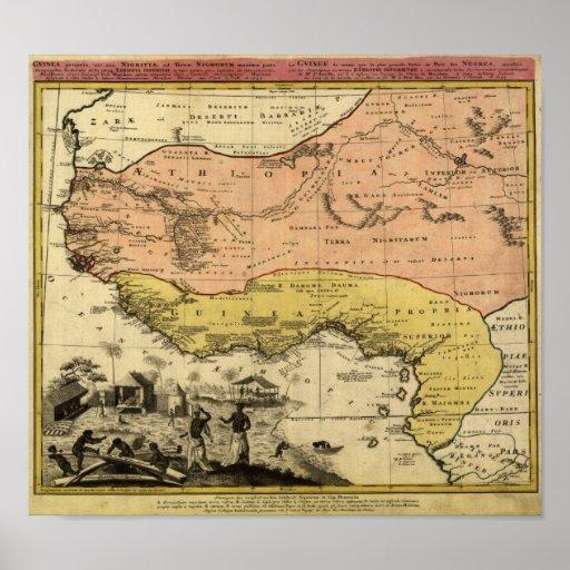Vintage 1743 West Africa Map Poster