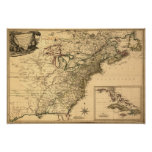 Vintage 1777 American Colonies Map by Phelippeaux