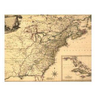 Vintage 1777 American Colonies Map by Phelippeaux 21.5 Cm X 28 Cm Flyer