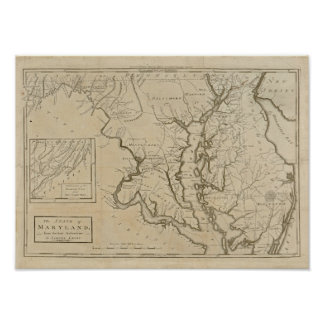 Vintage 1795 Maryland Map Print