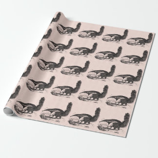 Vintage 1800s Aardvark Pink Retro Ant Eater Wrapping Paper