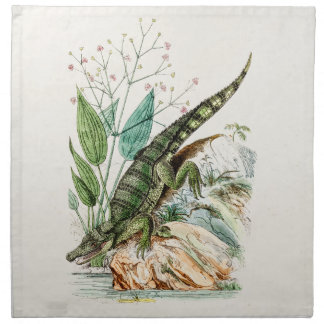 Vintage 1800s Alligator Crocodile Illustration Napkin