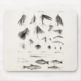 Vintage 1800s Angling Fly Fishing Flies Lures Lure Mouse Mat