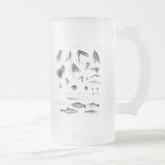 Vintage 1800s Angling Fly Fishing Flies Old Hooks Frosted Glass Mug