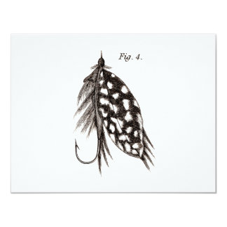 Vintage 1800s Angling Fly Fishing Flies Old Hooks 11 Cm X 14 Cm Invitation Card