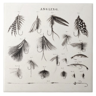Vintage 1800s Angling Fly Fishing Flies Old Hooks Tile
