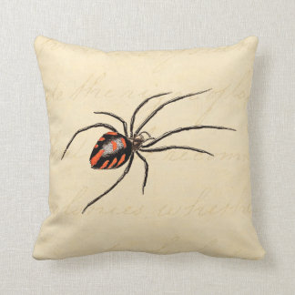 Vintage 1800s Black Red Spider Template Spiders Cushion