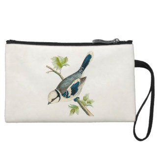 Vintage 1800s Blue Bird Songbird Birds Drawing Wristlet