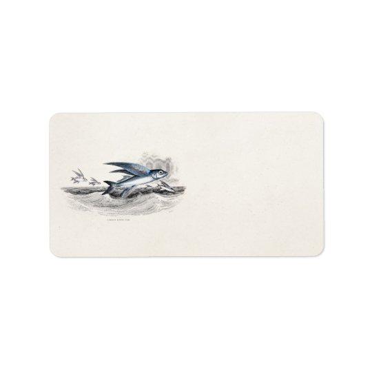 Vintage 1800s Blue Flying Fish In Ocean Waves Address Label