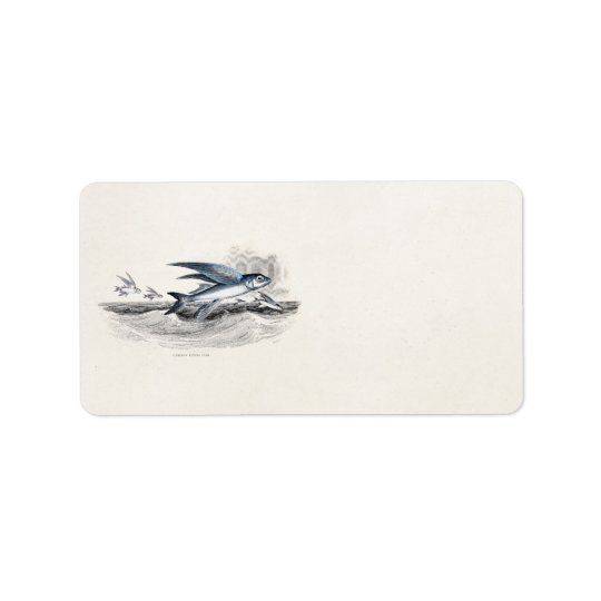Vintage 1800s Blue Flying Fish In Ocean Waves Label