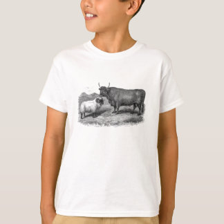 Vintage 1800s Bull Sheep Illustration Retro Cow T-Shirt
