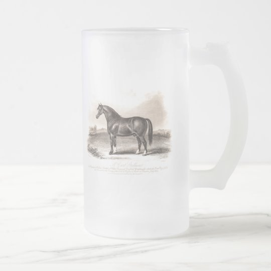 Vintage 1800s Cart Stallion Horse Illustration Frosted Glass Beer Mug