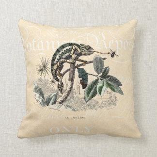 Vintage 1800s Chameleon Lizard Retro Chameleons Cushion