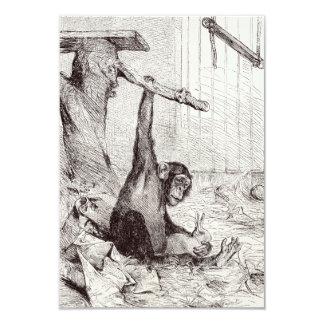 Vintage 1800s Chimpanzee Rabbit Monkey Bunny Chimp 9 Cm X 13 Cm Invitation Card