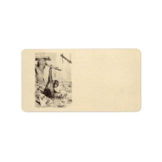 Vintage 1800s Chimpanzee Rabbit Monkey Bunny Chimp Address Label