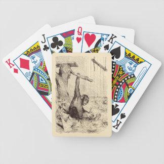Vintage 1800s Chimpanzee Rabbit Monkey Bunny Chimp Bicycle Playing Cards
