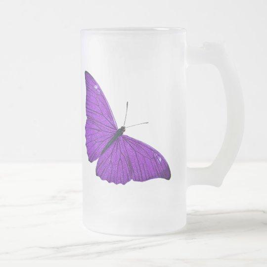 Vintage 1800s Dark Purple Butterfly Illustration Frosted Glass Beer Mug