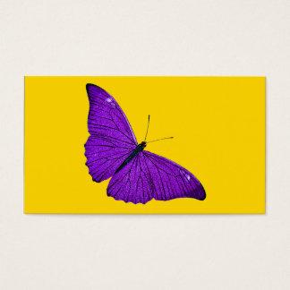 Vintage 1800s Dark Purple Butterfly on Yellow