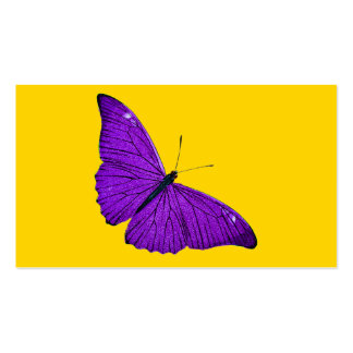 Vintage 1800s Dark Purple Butterfly on Yellow Pack Of Standard Business Cards