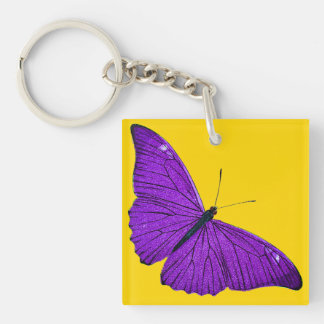 Vintage 1800s Dark Purple Butterfly on Yellow Single-Sided Square Acrylic Key Ring