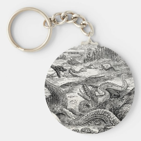 Vintage 1800s Dinosaur Illustration - Dinosaurs Basic Round Button Key Ring