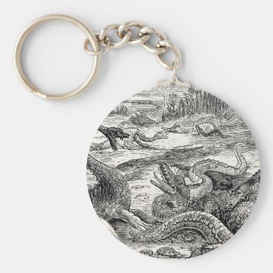 Vintage 1800s Dinosaur Illustration - Dinosaurs Key Ring