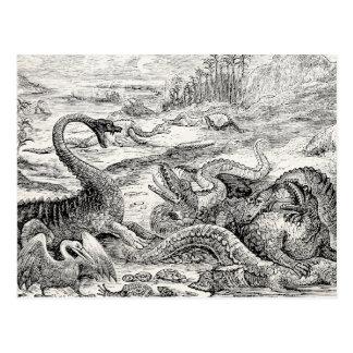 Vintage 1800s Dinosaur Illustration - Dinosaurs Postcard