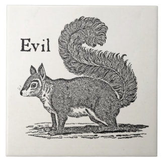 Vintage 1800s Evil Squirrel Illustration Tile