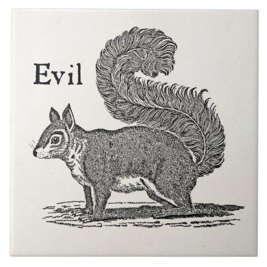 Vintage 1800s Evil Squirrel Illustration Tile